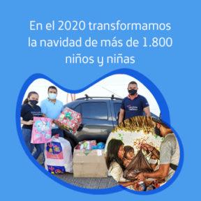 Transformamos la Navidad de muchos niños y niñas de Colombia.